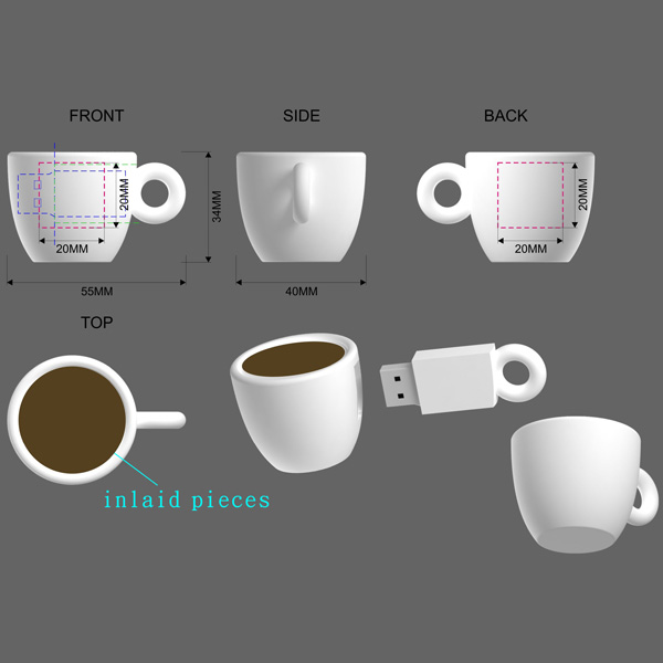 Coffee Cup Shaped Usb Flash Drive 4gb